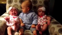 Baby Reaction When He Saw Twin babies First Time