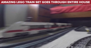 Amazing Lego Train Set Goes Through Entire House