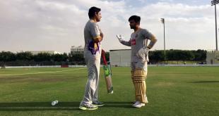 Abdul Razzaq Giving Batting Tips To Ahmed Shehzad
