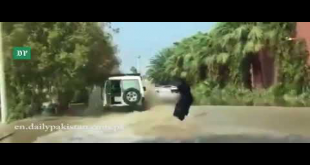 Thrill Seeker Saudi Woman Surfs In Floodwater