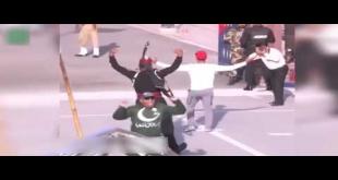 Hasan Ali's Signature Move During Flag-Lowering Ceremony At Wagah Border