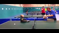 Baby Playing Table Tennis With His Father