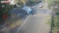 Cyclist cheats death twice in split second