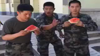 Chinese Army Guy Man Eats Watermelon In Seconds