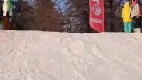 Lucky Girl Barely Dodges Ski Jumper