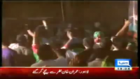 Imran Khan fell down from lifter in Lahore